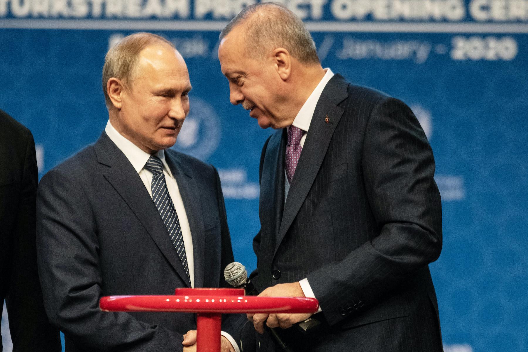 أردوغان وبوتين في افتتاح السيل التركي