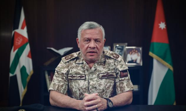 ملك الأردن أثناء خطابه عن فيروس كورونا