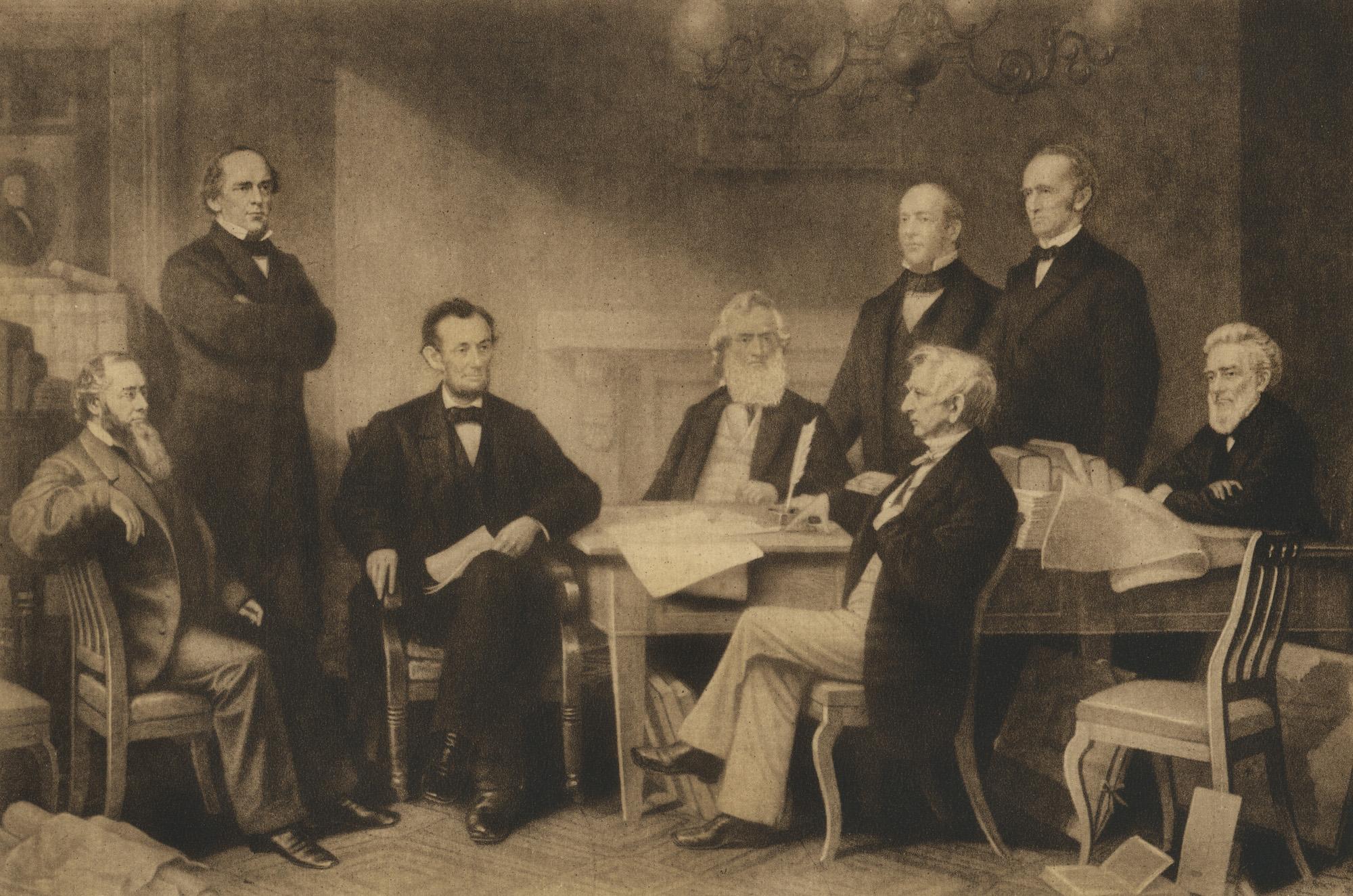 أبراهام لينكولن أثناء القراءة الأولى لإعلان تحرير العبيد.