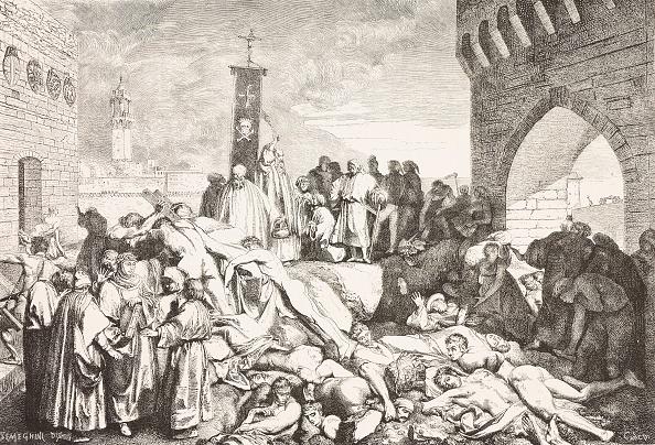 رسم يوضح الإصابة بالموت الأسود في فلورنسا عام 1348