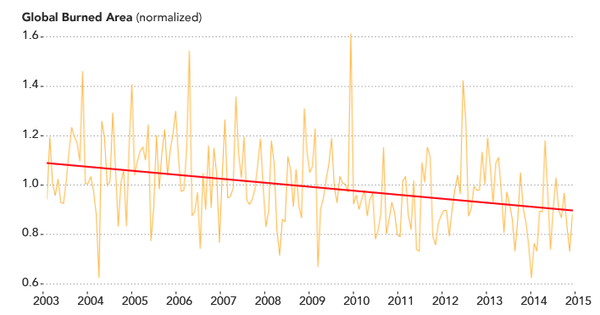 انخفضت مساحة الأرض المحترقة بنسبة 25% في الفترة بين عامي 2003 و2019 بفضل النمو الاقتصادي. (وكالة ناسا)