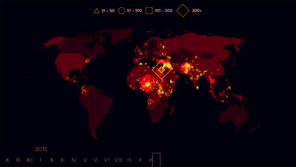تظهر الخريطة أعلاه أماكن حدوث الهجمات الإرهابية العالمية خلال السنوات الـ15 الماضية.