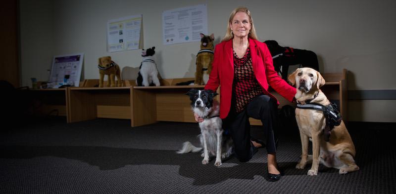 الباحثة ميلودي جاكسون مع كلاب تحمل أدوات التواصل.