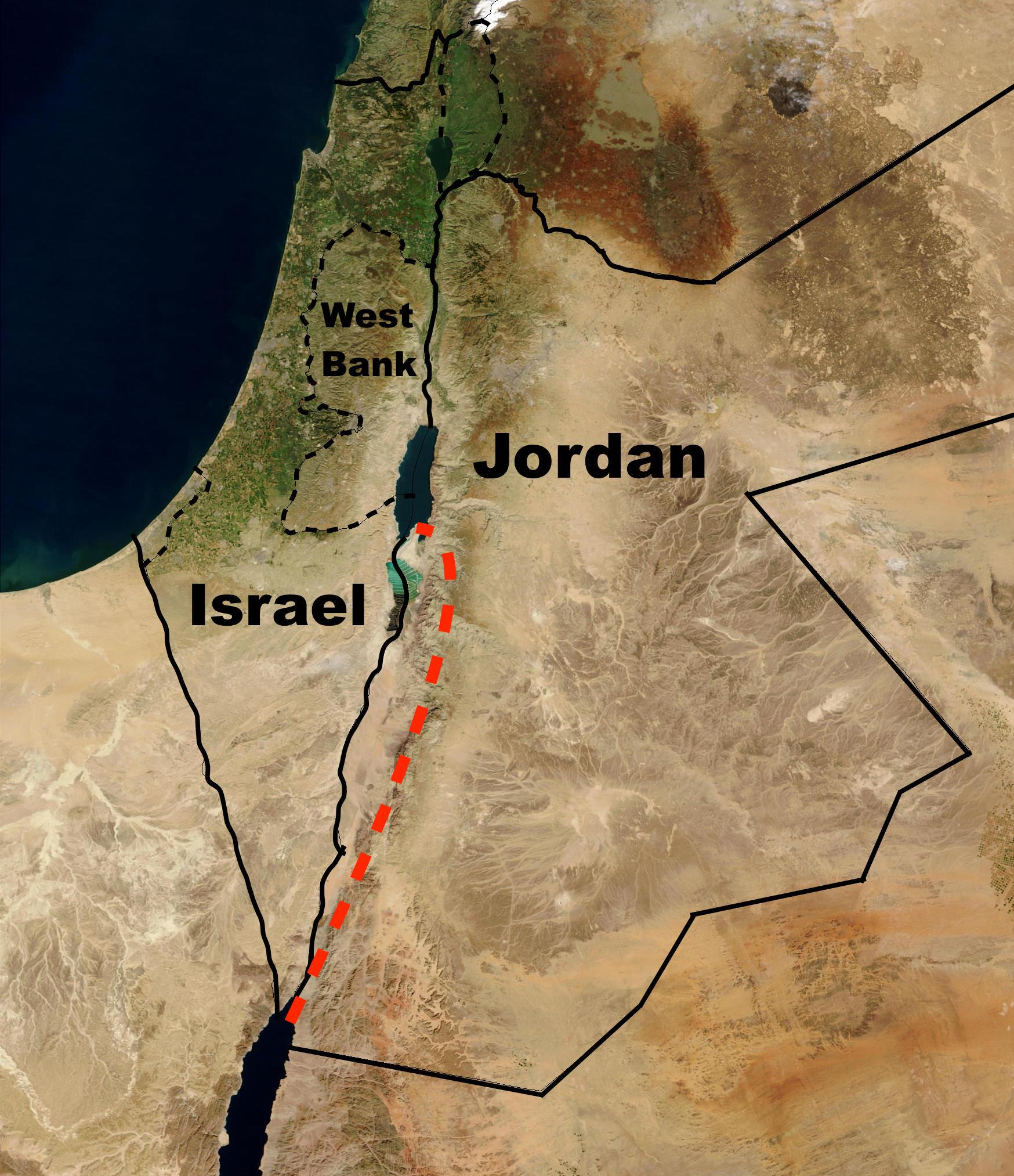 خريطة للأردن وإسرائيل، تُظهر خط مشروع قناة البحر الميت- البحر الأحمر، غربيّ الأردن، وبشكل كامل في الأراضي الأردنية. مصدر الصورة: ويكيبيديا.