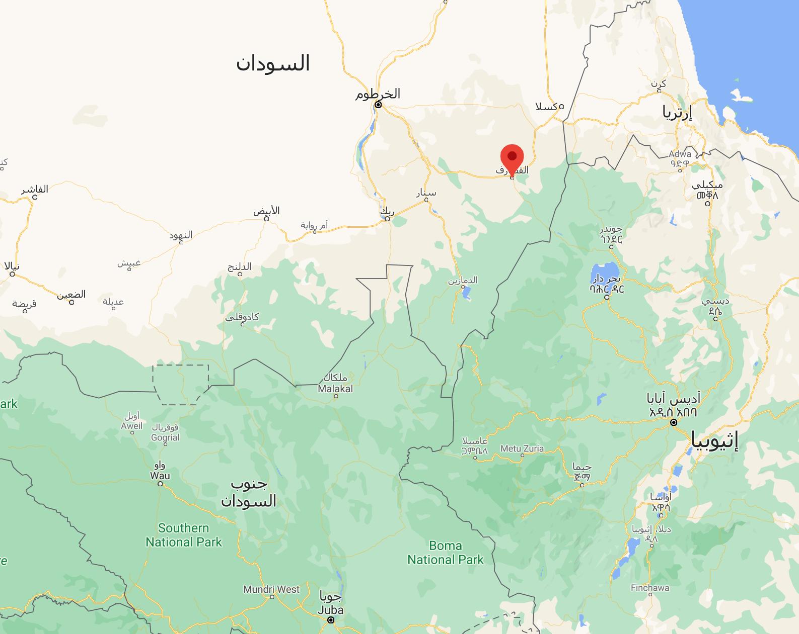 موقع ولاية القصارف السودانية المتنازع على بعض مناطقها بين السودان وإثيوبيا.
