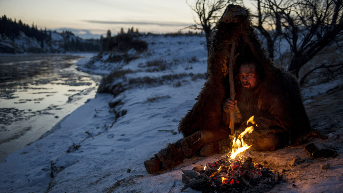 Leonardo DiCaprio, as Hugh Glass, bears the elements in a scene from The Revenant.